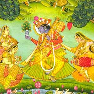 Raga basant bundi school miniature art painting handmade for Buy mural paintings online